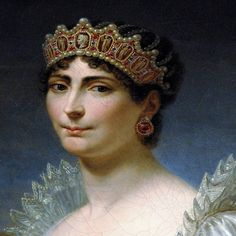 Empress Josephine, wife of Napoléon Bonaparte wearing a tiara in the neo-classical style.