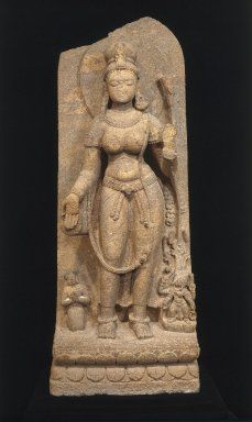 Green Tara | Medium: Khondalite |  Place Made: Udayagiri or Ratnagiri, Cuttack Hills, Orissa, India |  Dates: 8th century | Brooklyn Museum Dimensions: 67 3/8 x 26 x 17 1/2 in., 1109 lb. (171.2 x 66 x 44.5 cm, 503.04kg)