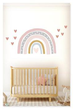 Hearts and Soft Rainbow Wall Sticker Girls Room Wall Decor   Etsy