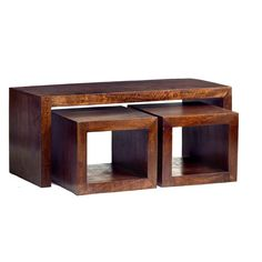 BESTChoiceForYou New Mango Wood John Long Coffee Table with 2 cube Stools - Glass Top Modern Style Rectangle Base Design Home Living Room Furniture Cube Coffee Table, Coffee Table With Stools, 3 Piece Coffee Table Set, Coffee Table With Storage, Coffee Table Design, Coffee Tables, Coffee Set, Oak Furniture House, Furniture Making