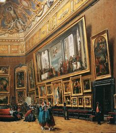 "This list is a collection of searchable image databases of artworks! #art #artists #arthistory ""View of the Grand Salon Carré in the Louvre (detail)"" 1861."