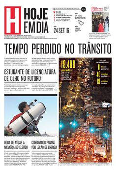Capa do dia 24/09/2016 #HojeEmDia #Jornal #Notícias #News #Newspaper