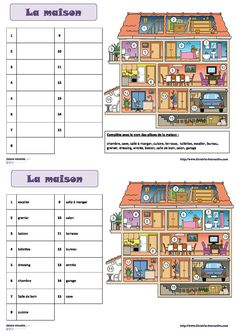 Une fiche pour découvrir et retenir le vocabulaire de la maison. French Language Lessons, French Language Learning, French Lessons, French Flashcards, French Worksheets, French Teaching Resources, Teaching French, French Education, Core French