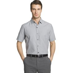 Men's Van Heusen Air Wovens Classic-Fit Poplin Performance Button-Down Shirt, Size: Medium, Med Grey