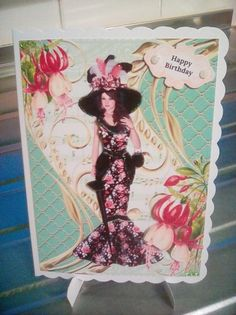 Elegant Victorian Lady Card Front on Craftsuprint created by Joyce Edwards - I printed the design on to matt photo paper. I used foam tape to build up the layers,added some gems and glitter.The sentiment can be changed.