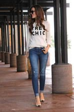 Forever 21 White Très Chic Print Knit Sweater