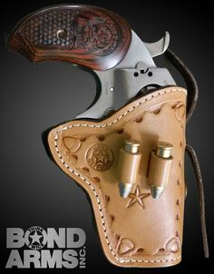 This is a western belt holster with hammer spur strap.  This model comes with cartridge loops available in either .357/.38 or .45 Colt/.410. This holster is fully lined to protect the finish of your Bond Arms Derringer.  Made from vegetable tanned U.S.A. cowhide. Stock Barrel Sizes