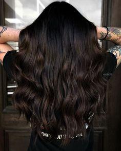 Brunette Balayage for Thick Hair - 50 Cute Long Layered Haircuts with Bangs 2019 - The Trending Hairstyle Brown Hair Balayage, Balayage Brunette, Dark Brown Balayage, Dark Hair Highlights, Black Hair With Lowlights, Dark Hair Balyage, Chocolate Highlights, Baylage, Dark Brunette Hair