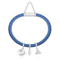 Pulseira Prata Couro Azul e Zircônia Equilíbrio 18,5 cm - Life Wishes