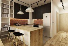 plancher bar plan travail cuisine bois massif crédence brique