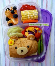 Bentos On the Bayou: Simple Rilakkuma Bento Easy Lunch Boxes, Bento Box Lunch, Box Lunches, Bento Recipes, Bento Ideas, Lunch Ideas, Whats For Lunch, Lunch To Go, Easy Meals For Kids