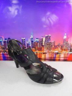 Womens shoes NINE WEST LeStyle black leather ankle strap Club Heels sz 6.5 M #NineWest #OpenToe