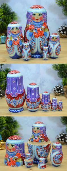 Russian babushka doll in winter dress by artist Nelly Marchenko. Find more lovely matryoshka dolls at: www.bestrussiandolls.etsy.com