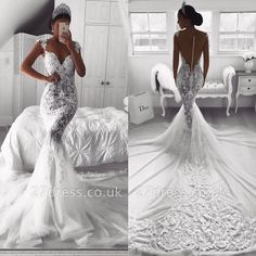 Glamorous Lace Mermaid Wedding Dresses Sexy See Through Illusion Bodice Backless Sweep Train Bridal Gowns Appliqued Beach Wedding Dress - Wedding Dress Train, Lace Mermaid Wedding Dress, Sexy Wedding Dresses, Mermaid Dresses, Sexy Dresses, Bridal Dresses, Vintage Dresses, Wedding Gowns, Ivory Wedding