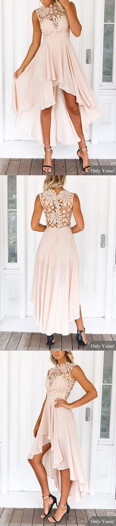 Lace Embroidery Sleeveless High-waisted Irregular Hem Dress