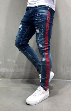 """Men Skinny Fit 2 Sides Stripes """"let's Go"""" Ripped Jeans - Blue 4057 Patterned Jeans, Striped Jeans, Big Men Fashion, African Men Fashion, Jeans Diesel, Streetwear Jeans, Mens Cotton Shorts, Star Clothing, Swag Outfits Men"""