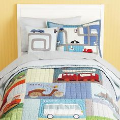 Kids' Bedding: Boys' Colorful Car Theme Quilt Bedding in Boy Bedding.  For IR