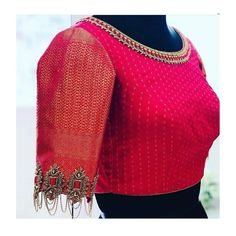 Details in sleeves g Wedding Saree Blouse Designs, Pattu Saree Blouse Designs, Stylish Blouse Design, Fancy Blouse Designs, Lehenga Blouse, Indian Style, Designer Blouse Patterns, Designer Saree Blouses, Blouse Neck Patterns