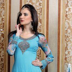 Light Blue Faux Chiffon Anarkali Churidar Kameez Online Shopping: KZS14B