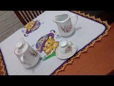 Bico em crochê modelo 1 Pano de chá gatinha dengosa - YouTube