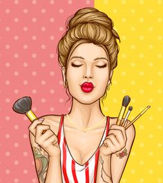 Makeup cosmetics ad illustration with fashion woman portrait Free Vector Schönheitssalon Logo, Pop Art Women, Pop Art Wallpaper, Beauty Salon Logo, Pop Art Girl, Free Cartoons, Female Portrait, Woman Portrait, Hand Illustration