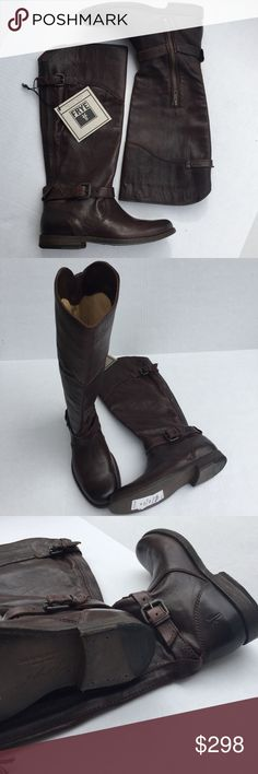 """Frye Philip Ryding Boot Box Bottom Included  - New   True to equestrian style, the Phillip Riding is a racing classic with its stately knee-high silhouette and shapely collar. Crafted from soft leather that's been washed and antiqued for that vintage look we know you love, then hand burnished to bring out the warm, unique shades. FEATURES  - Italian leather - Leather lined - Leather outsole - 13 1/2"""" shaft height - 14"""" shaft circumference - 3/4"""" heel height Frye Shoes Heeled Boots"""