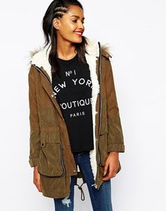 Image 1 ofRiver Island Faux Fur Hood Parka With Shearling Inner