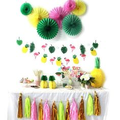 tropical party set kids birthday party ideas, 1st birthday, first birthday, girl party, boy party, baby shower ideas, party decor, summer party, bridal shower, tropical, pineapple, flamingos