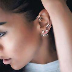 """ crown earjacket, triangle stud and hexagon earcuffs! #kismetbymilka"