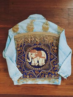 Embellished Elephant Jacket in Royal Blue by wildandfreejewelry Embroidery On Clothes, Denim And Lace, Altering Clothes, Jacket Style, Boho Fashion, Fashion Styles, Diy Clothes, Royal Blue, Sari Fabric