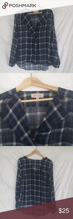 PHILOSOPHY Shear plaid blouse Plaid.  Shear. Cute at work or wear with skinny jeans.  Goes from work to play. Philosophy Tops Blouses