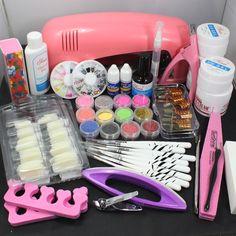 Pro Nail Art UV Gel Kit Tools Pink UV lamp Brush Tips Glue Acrylic Powder Set in Health & Beauty, Nail Care, Manicure & Pedicure, Nail Art Accessories Diy Acrylic Nails Kit, Nail Art Gel Uv, Airbrush Nail Art, Gel Nail Kit, Acrylic Set, Uv Gel Nails, Shellac, Nail Kits, Nail Polish