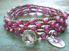 Crochet wrap bracelet Love Me Knot sterling by 3DivasStudio