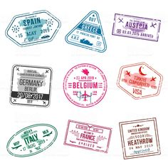 Set of visa stamps for passports. International and immigration...