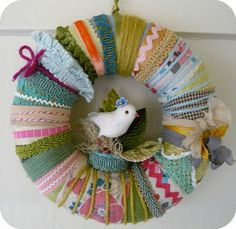scrap wreath-here's what can do with all those little pieces that you HATE to throw away.....