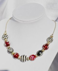 HANDPAINTED beaded necklace in glistening by designsbyDebRay, $120.00