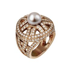 Cartier 18k gold ring full paved with diamonds and freshwater pearl