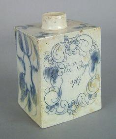 English salt glaze stoneware caddy dated 1767 (01/11/2008)