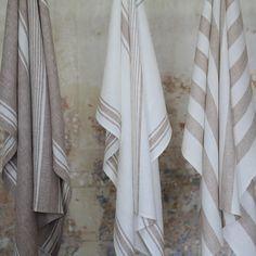 Linen Huckaback Bath Towels LinenMe #linen #linentowels #bathtowels #striped #white #beige