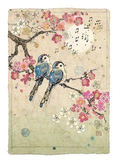 Blue Song Birds is part of B Four Blue Birds Complete Art Bug Art Bird Art - Embossed with gold foil Art Bug, Songbird Tattoo, Tattoo Bird, Art Mignon, Blue Song, Art Japonais, Inspiration Art, Bird Illustration, Bird Drawings