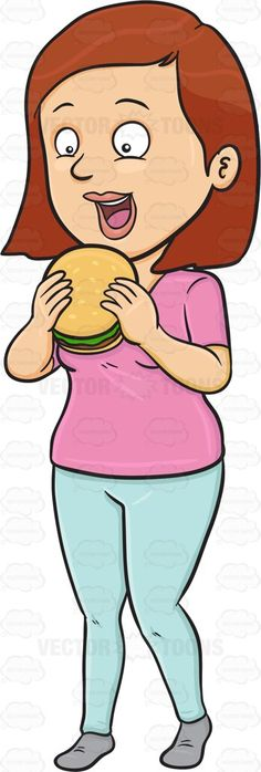 A Woman Looking Excited To Taste A Hamburger #adult #adultfemale #bread #bun #burger #burgerpatty #carrottop #consumption #eating #fairsex #feeding #female #femaleperson #food #girl #grownup #hamburger #human #humanbeing #individual #ingestion #intake #leggings #lettuce #nutrient #pants #patty #redhair #sandwich #sesameseeds #shirt #shoes #single #uptake #woman #womanhood #vector #clipart #stock