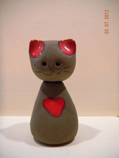 Miniature clay pottery cat figurine Denmarkwith by   KittiesAGoGo