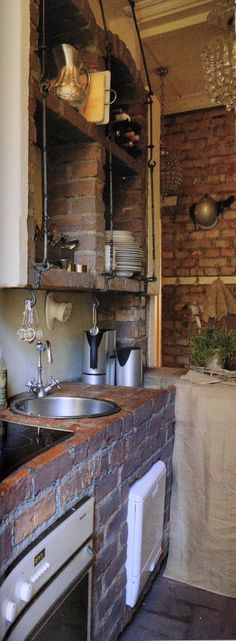 Rustic kitchen design with brick walls. Romantic Kitchen, Rustic Kitchen, Kitchen Dining, Kitchen Decor, Kitchen Shelves, Brick Shelves, Kitchen Brick, Kitchen Ideas, Backyard Kitchen
