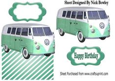 green split screen campervan over the edge card on Craftsuprint - Add To Basket!