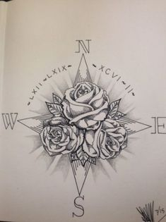 New Tattoo Compass Rose Anchor Ideas Tattoo Hals, 1 Tattoo, Tattoo Drawings, Body Art Tattoos, Roses Tatoo, Flower Tattoos, Compass Tattoo, Trendy Tattoos, Tattoos For Guys