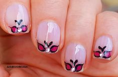 #Black & #NeonPink #Butterfly #Frenchmanicure French Manicure Nails, French Manicure Designs, Butterfly Nail Art, Black, Black People