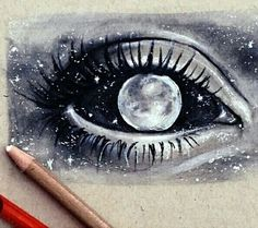 art, black and white, draw, drawing, drawings, draws, eye, galaxy, gray, moon, planets, stars, universe, First Set on Favim.com