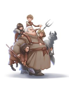 Hodor, Bran, Osha, Jojen & Meera - Game of Thrones - Pavel Stepanov