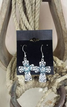 Hammered Cross Earrings with Turquoise Rowel