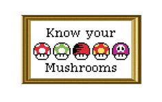 Mario Mushrooms Cross Stitch Pattern Funny Know by RatherUnseamly